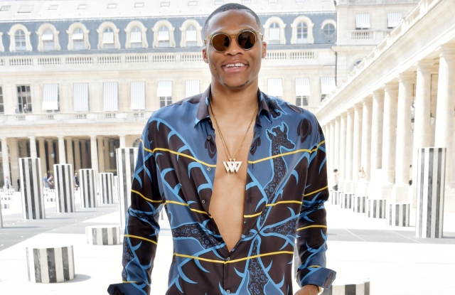 Russell Westbrook front row at Louis Vuitton