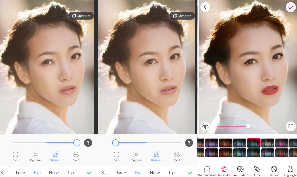 Pitu makes it easy to alter facial features or add a full face of digital makeup.