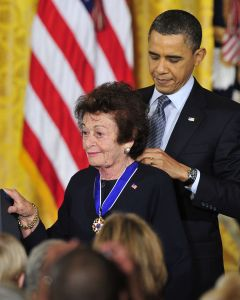 """Jewish Holocaust survivor Gerda Weissmann Klein and United States President Barack Obama2010 Medal of Freedom Awards Ceremony, Washington D.C., America - 14 Feb 2011 United States President Barack Obama and first lady Michelle Obama present the 2010 Medal of Freedom, """"the Nation's highest civilian honor presented to individuals who have made especially meritorious contributions to the security or national interests of the United States, to world peace, or to cultural or other significant public or private endeavors""""."""