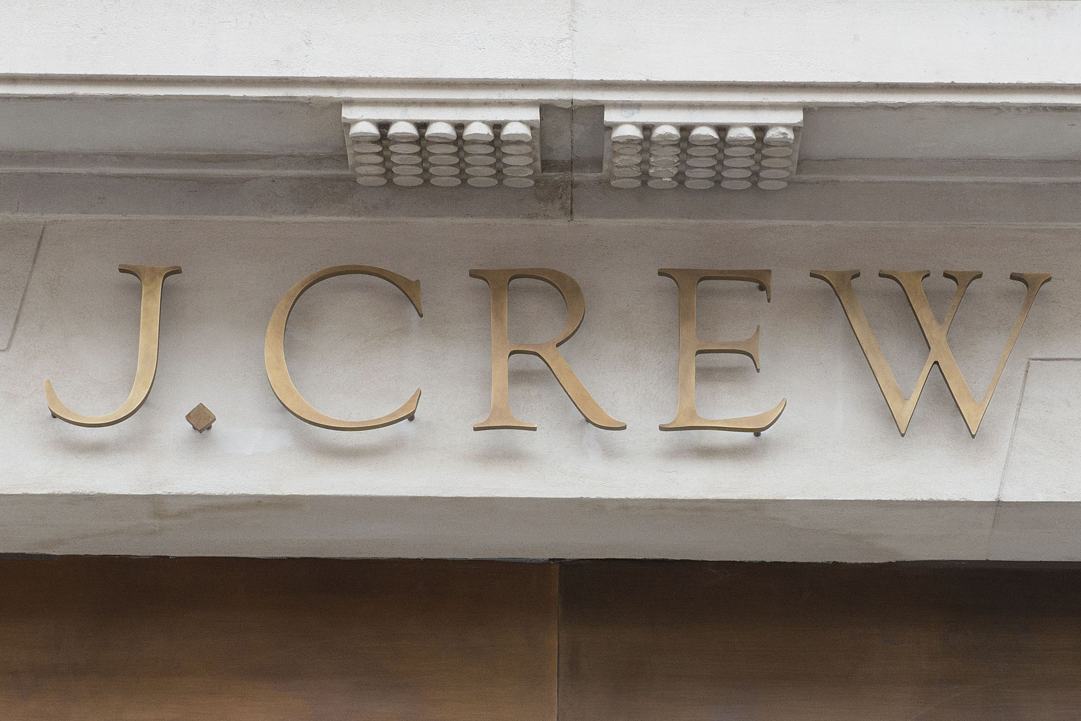 Store logo signOpening of J Crew Store in Regent Street, London, Britain - 08 Nov 2013