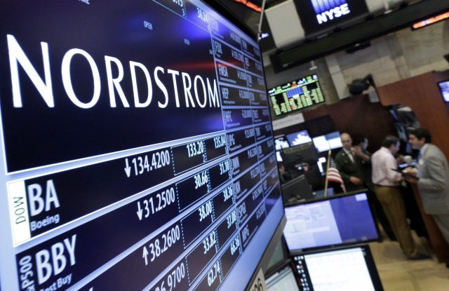 The Nordstrom logo is displayed above the post where it trades on the floor of the New York Stock Exchange, . Nordstrom slashed its annual projections and said a key measure of sales fell for the first time in almost seven yearsFinancial Markets Wall Street Nordstrom, New York, USA