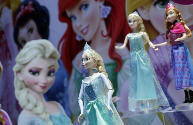 Disney Frozen Feature Fashion Dolls are displayed at the Mattel booth, at the American International Toy Fair in New YorkToy Fair Mattel, New York, USA