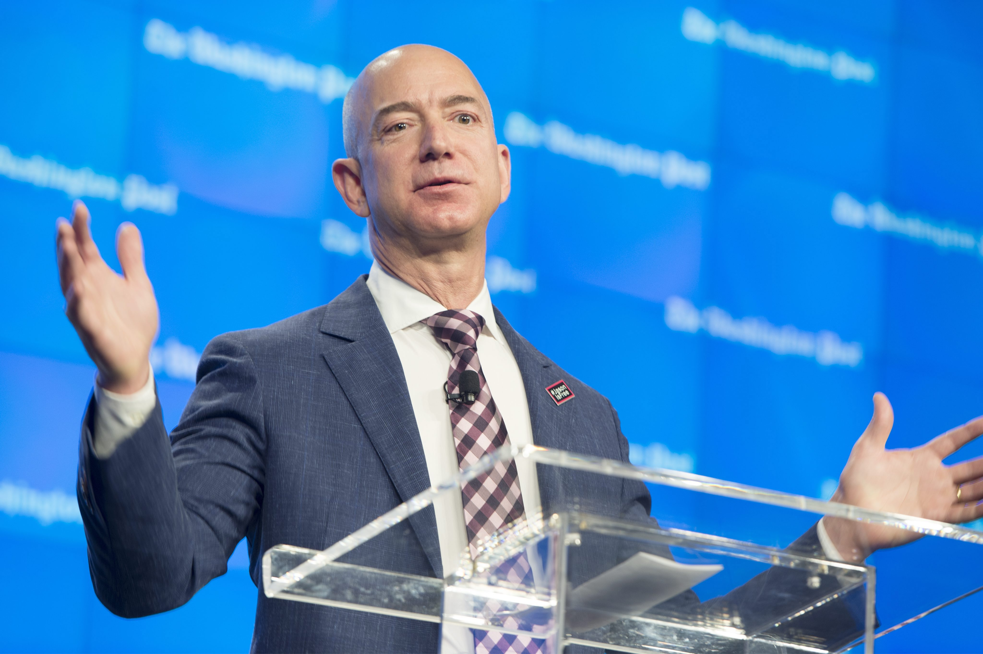 Owner of the Washington Post and Founder of Amazon Jeff Bezos Delivers Remarks at an Event Celebrating the New Location of the Washington Post in Washington Dc Usa 28 January 2016 United States WashingtonUsa Washington Post Grand Opening - Jan 2016