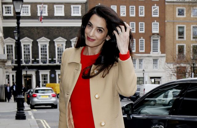Amal Clooney at International crimes in Syria and Iraq - Chatham House discussionAmal Clooney out and about, London, UK - 29 Mar 2017WEARING VINTAGE BALMAIN COAT AND DIOR DRESS