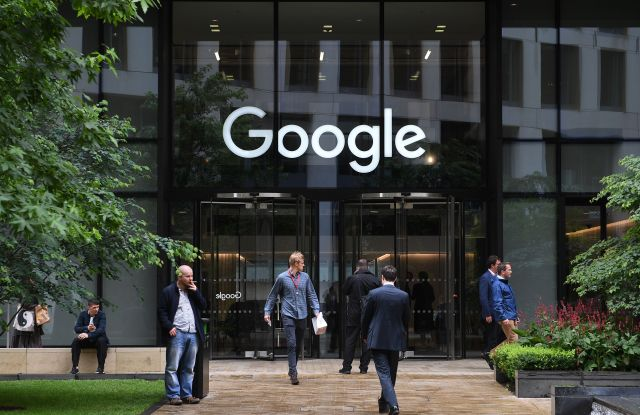 Pedestrian walk past by the Google office in St Pancras in London, Britain, 27 June 2017. The European Commission on 27 June 2017 would fine the Google with 2.4 billion euros for abusing its dominance as a search engine. The company has 90 days to stop its illegal activities or face fines.European Competition Commissioner fines Google 2.4 billion euros for abusing search engine dominance, London, United Kingdom - 27 Jun 2017