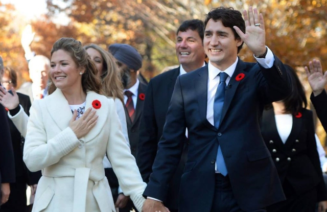 Canadian First Lady Sophie Trudeau, in Sentaler, with her husband, Prime Minister Justin Trudeau.