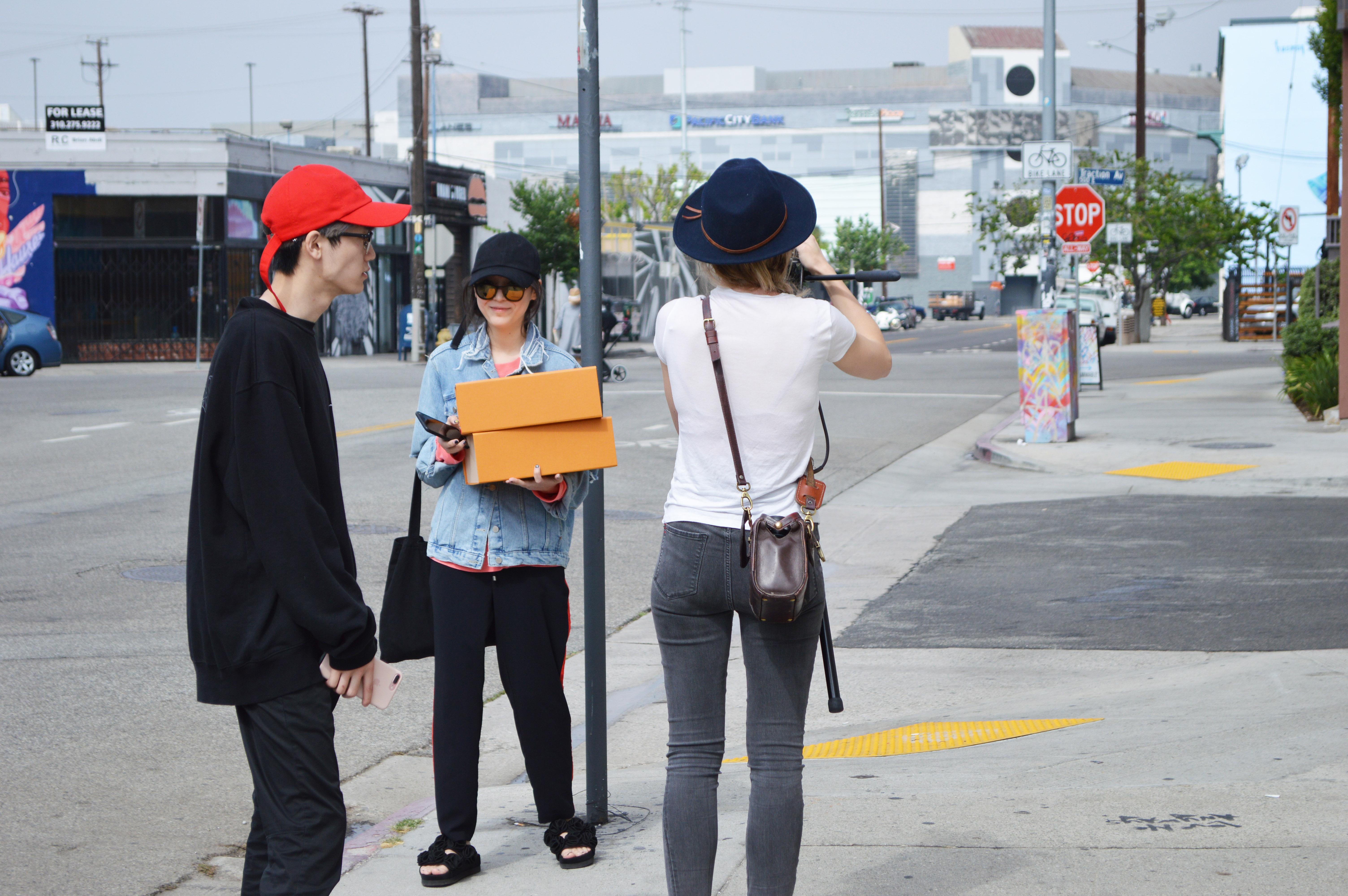 Los Angeles shoppers at the Louis Vuitton x Supreme pop-up