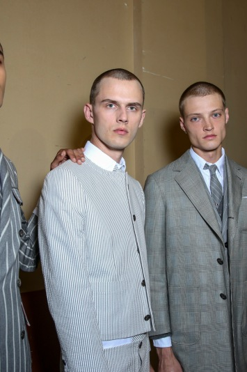 Backstage at Thom Browne Men's Spring 2018