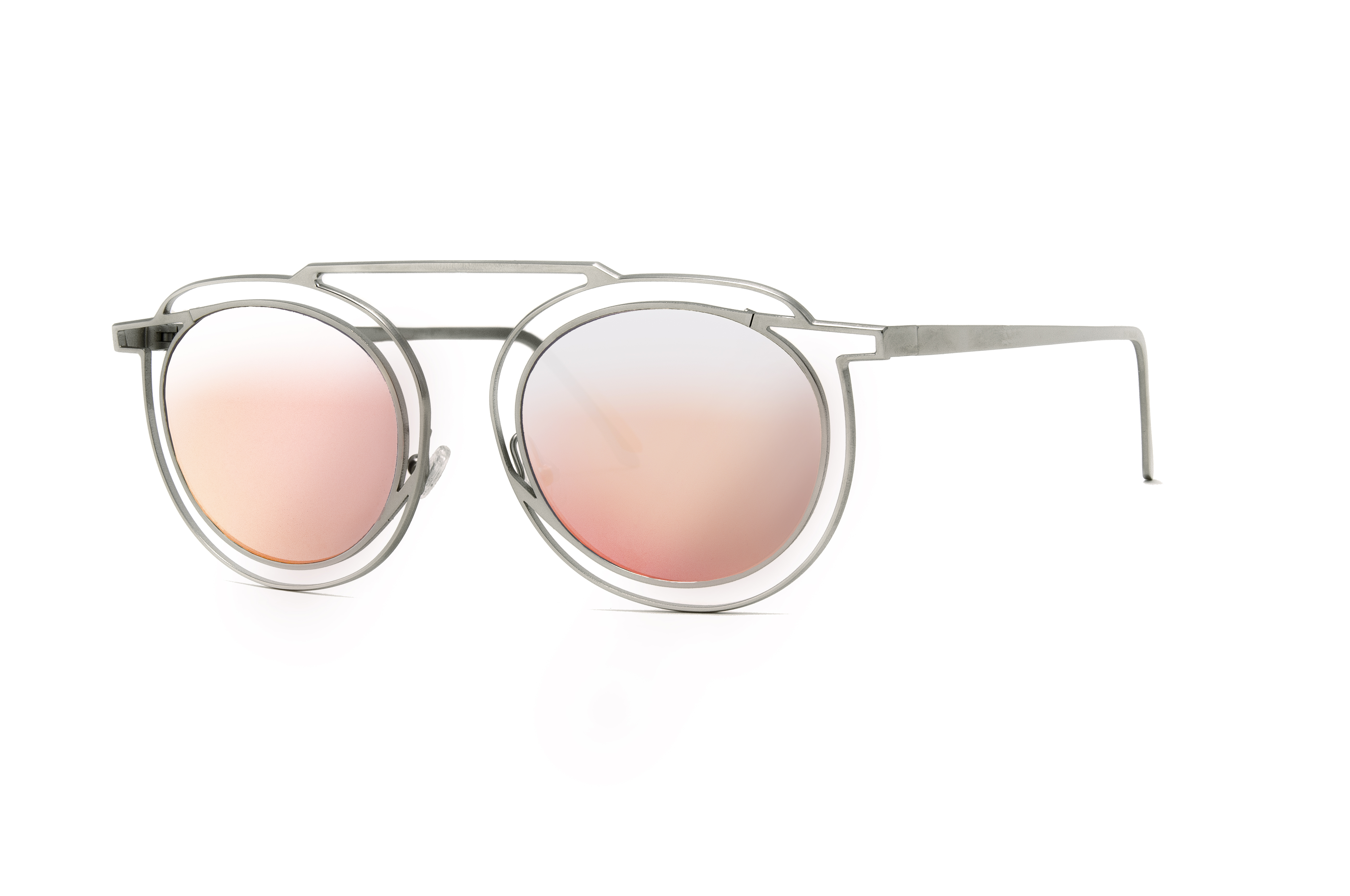 Unisex frames with flat pink silver mirror lenses by Thierry Lasry for the Alchemist pop-up