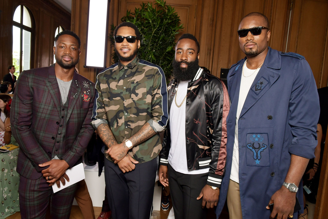 Dwyane Wade, Carmelo Anthony, James Harden and Serge Ibaka in the front rowValentino show, Spring Summer 2018, Paris Fashion Week Men's, France - 21 Jun 2017