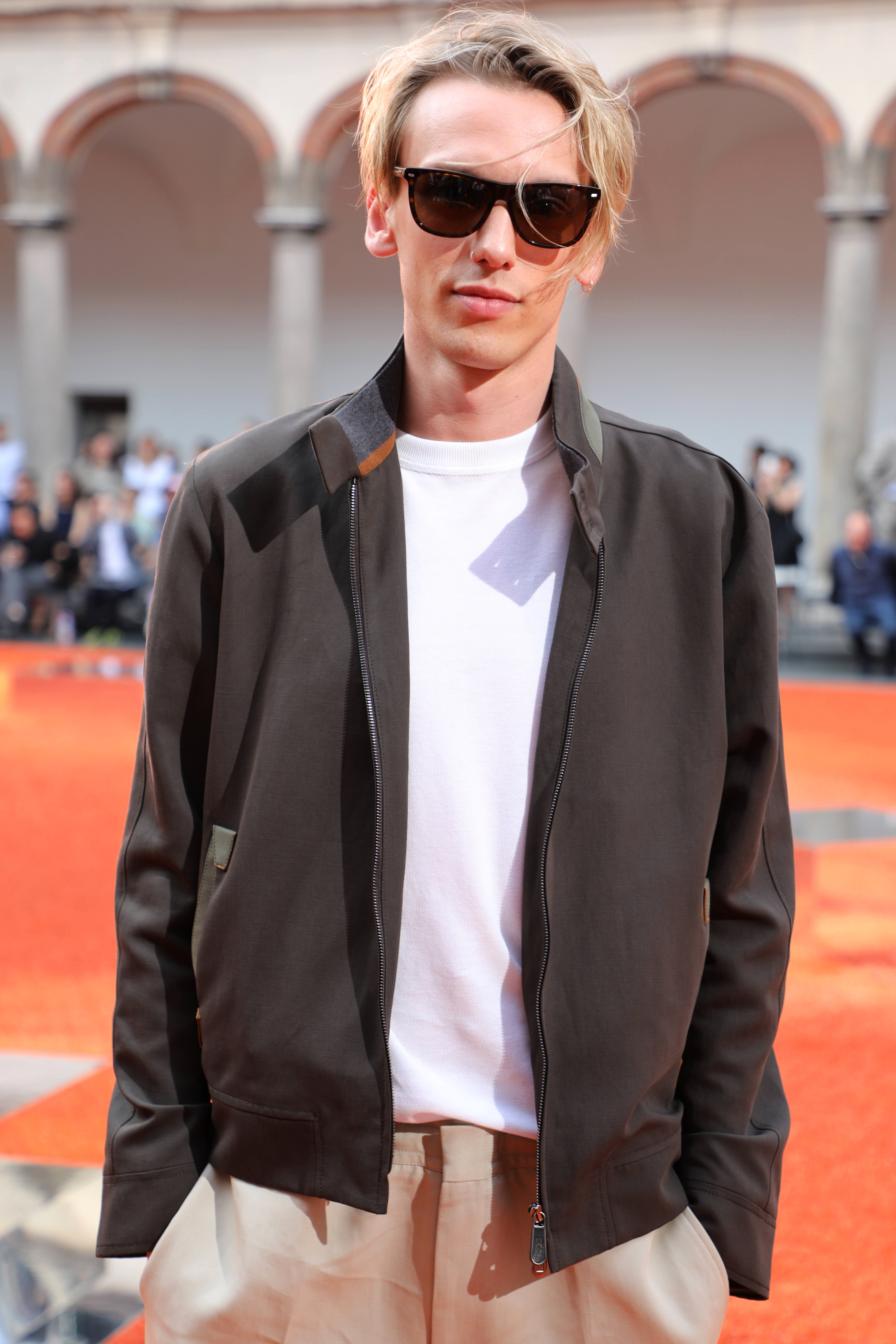 Jamie Campbell Bower in the front rowErmenegildo Zegna show, Spring Summer 2018, Milan Fashion Week Men's, Italy - 16 Jun 2017