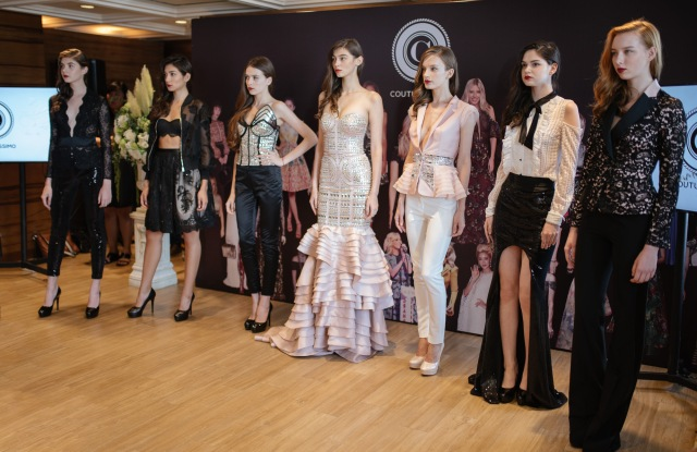Models parade looks from Couturissimo's upcoming presentation at London Fashion Week.