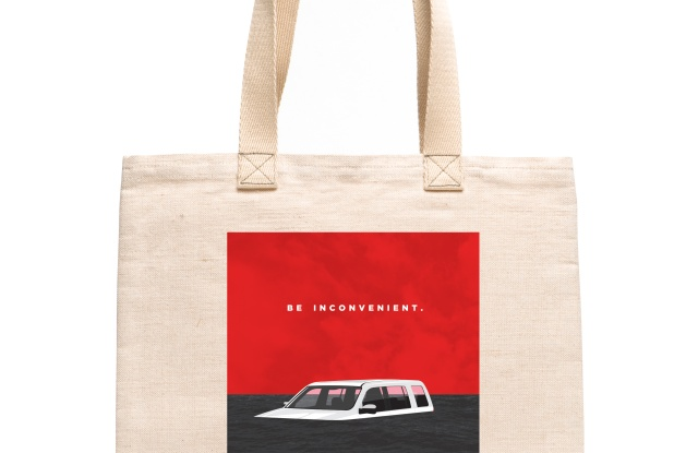 Alternative Apparel's limited edition tote bag features graphic art from a film poster commissioned from Shepard Fairey's Studio Number One.