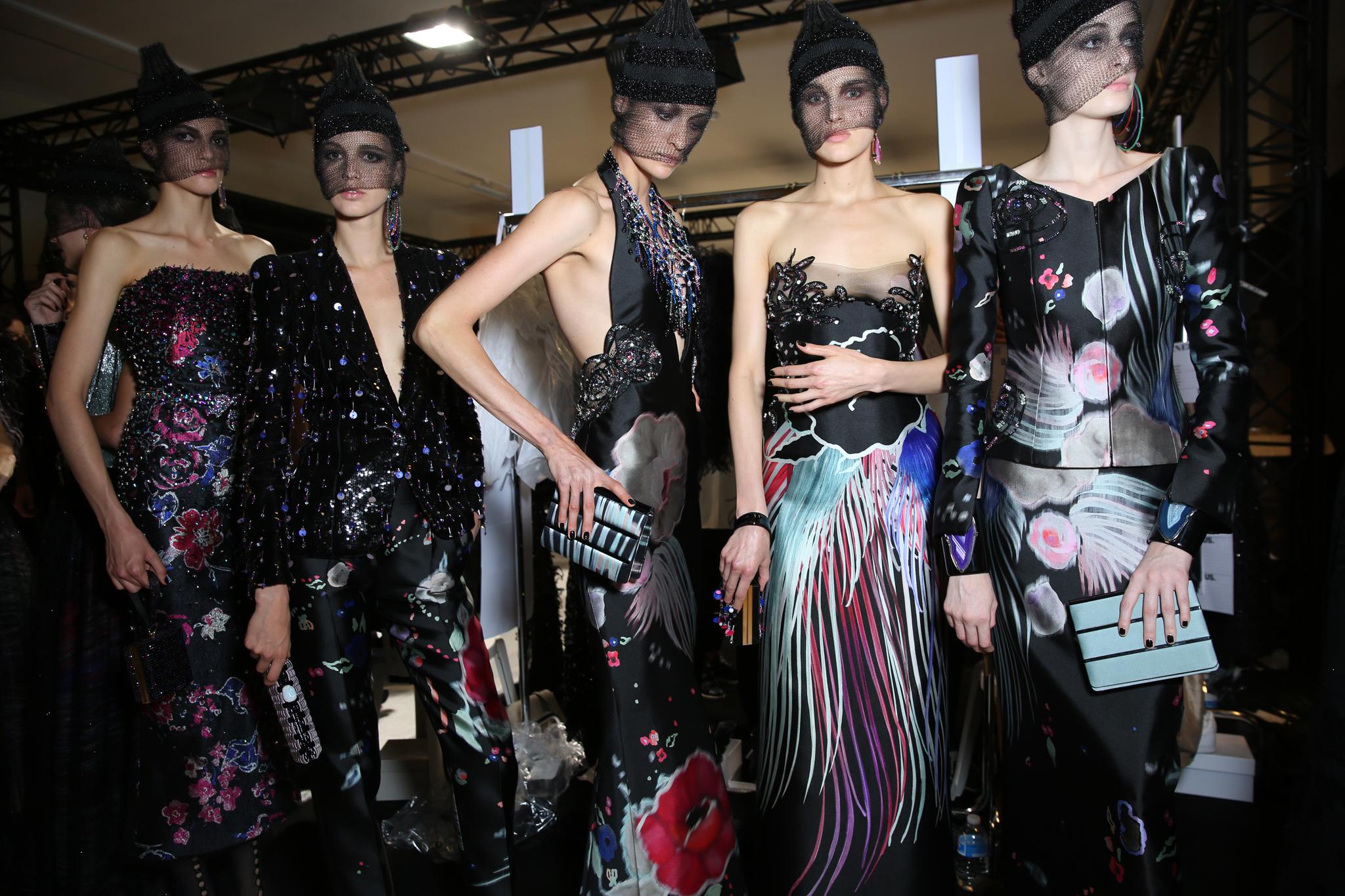 Backstage at Giorgio Armani Privé Couture Fall 2017