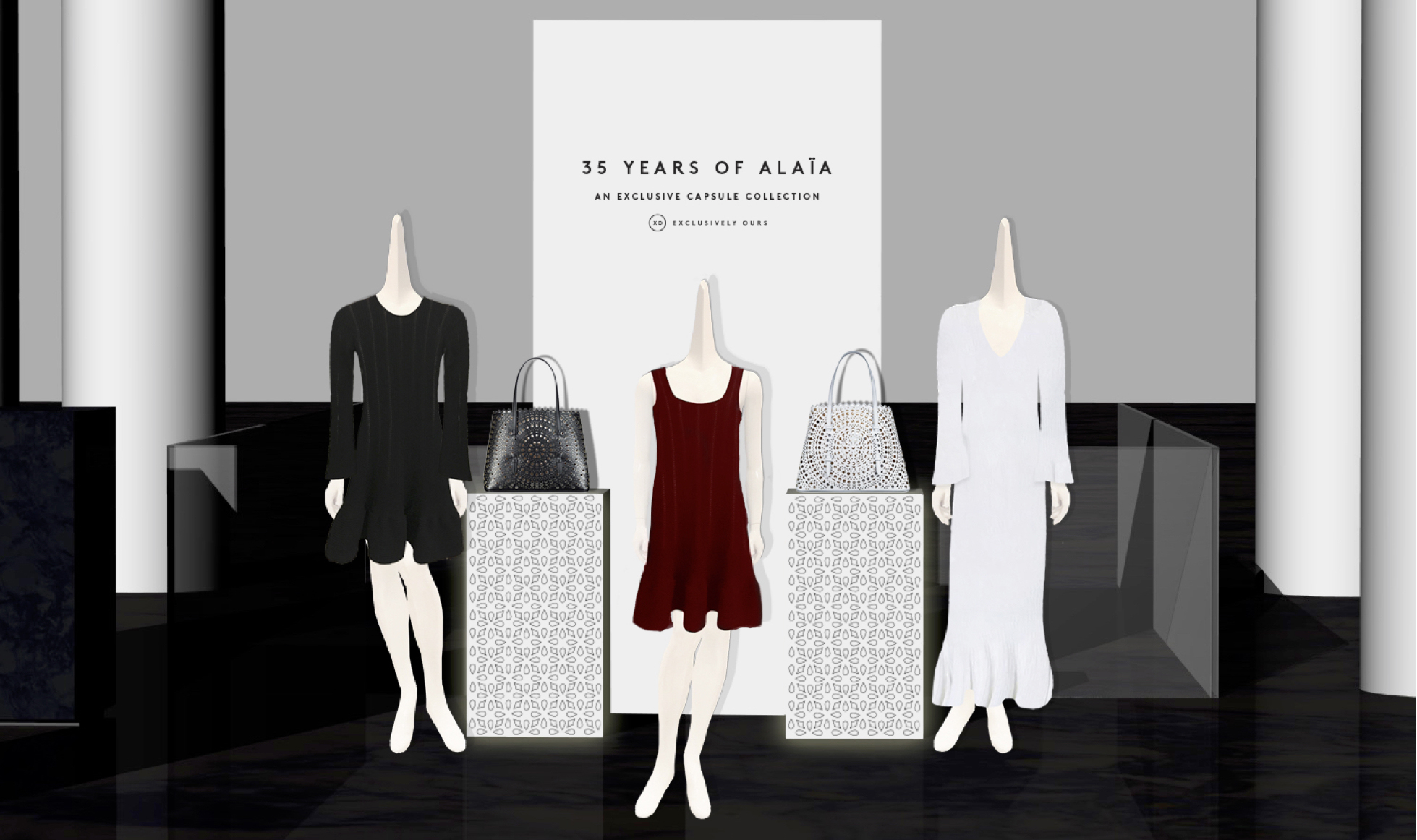 A rendering of an in-store installation at Barneys New York featuring the work of Azzedine Alaia. The dresses are exclusive to the store, part of aspecial collection celebrating the designer's 35-year relationship with Barneys.