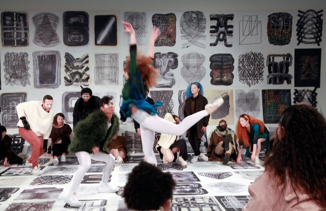 Dancers will perform at the opening with Bursa's art on the walls and floor.