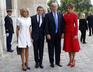Brigitte Macron, Emmanuel Macron, Donald Trump and Melania Trump