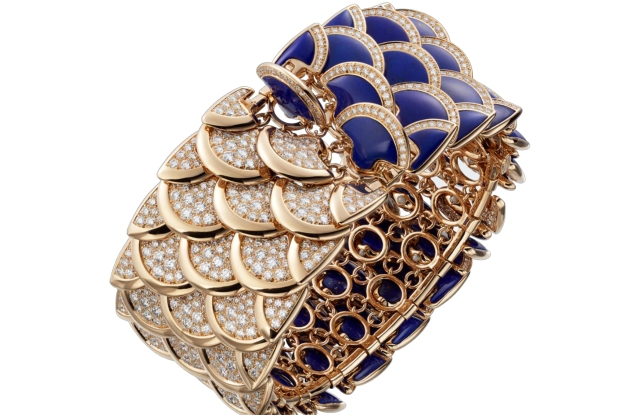 Eurythmie bracelet in diamonds and lapis lazuli, completely reversible bracelet in turning the scale.
