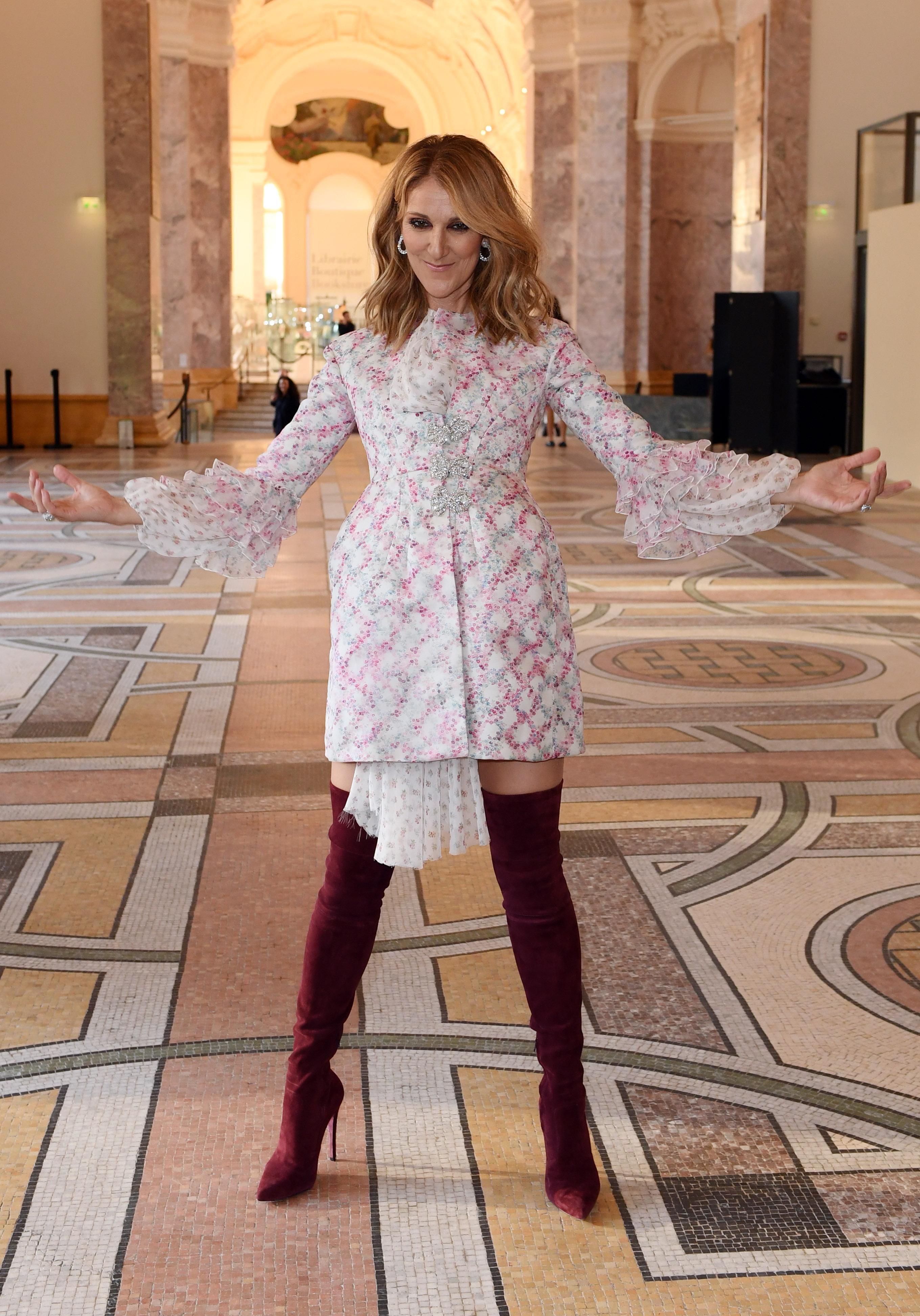Céline Dion backstageGiambattista Valli show, Fall Winter 2017, Haute Couture Fashion Week, Paris, France - 03 Jul 2017WEARING GIAMBATTISTA VALLI SAME OUTFIT AS CATWALK MODEL *5745219h