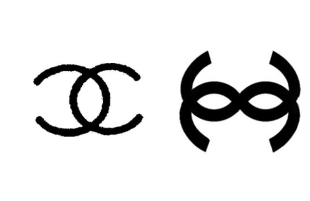 The Chanel logo (left) and the contested symbol (right).