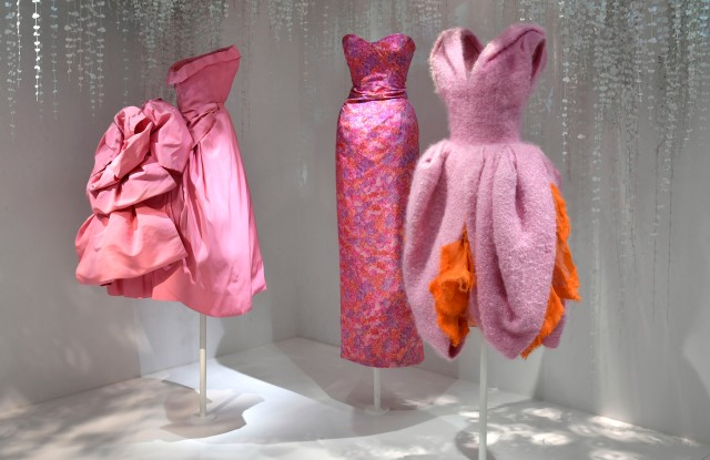 Dresses by Christian Dior and John Galliano in the Dior exhibition at Les Arts Décoratifs.