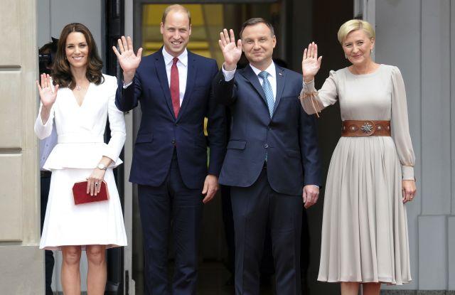 The Duchess of Cambridge (in Alexander McQueen), Prince William Polish President Andrzej Duda and First Lady Agata Kornhauser-Duda
