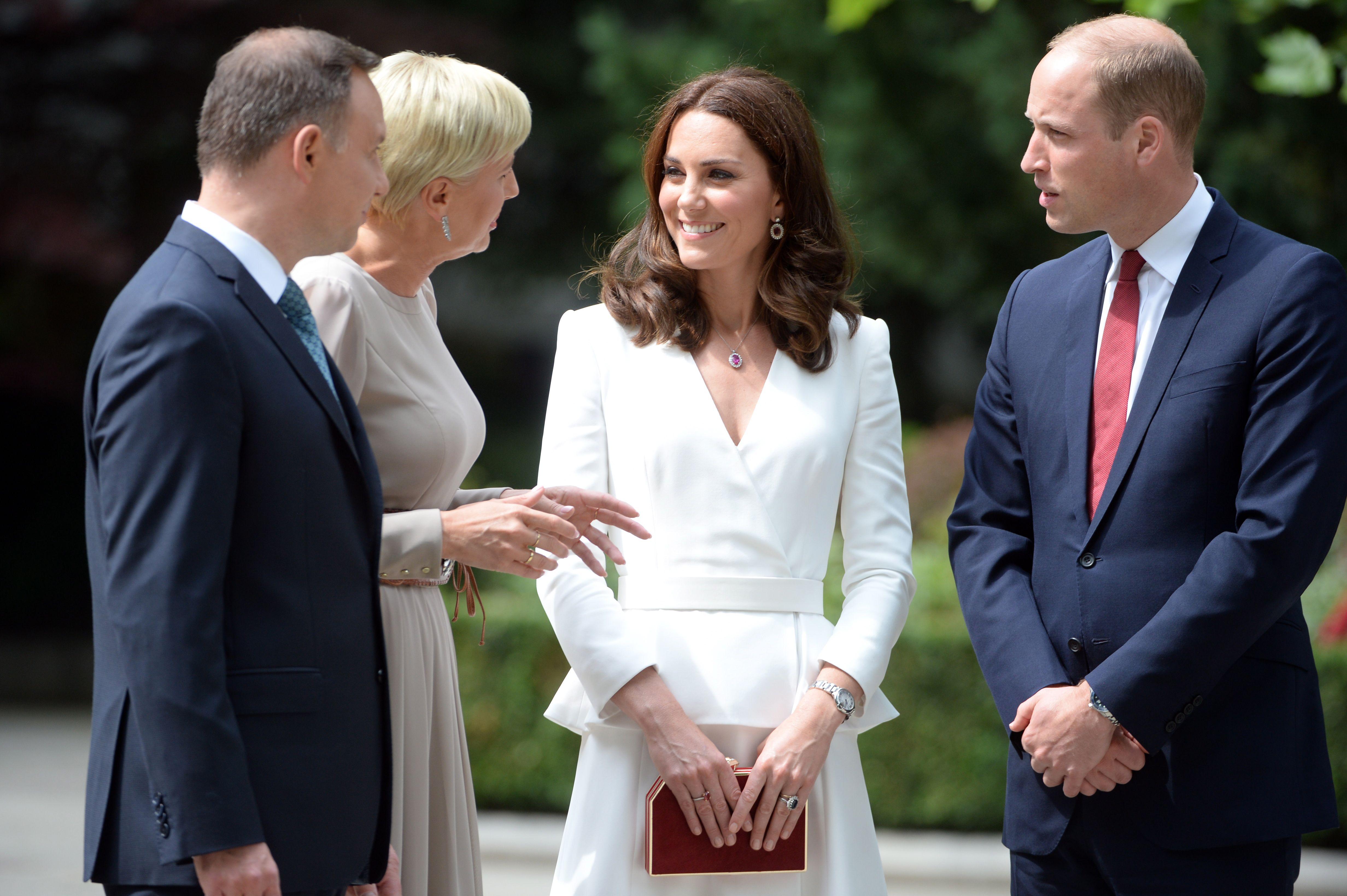 Polish President Andrzej Duda, First Lady Agata Kornhauser-Duda, the Duchess of Cambridge (in Alexander McQueen) and Prince William