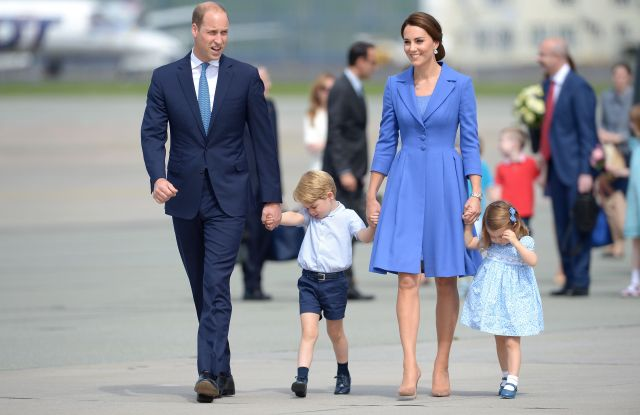 Prince William, the Duchess of Cambridge (in Catherine Walker & Co.), Prince George and Princess Charlotte