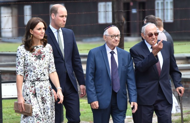 The Duchess of Cambridge (in Erdem) and Prince William visit Stutthof Concentration Camp in Poland