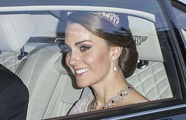 Catherine Duchess of Cambridge departs Kensington Palace to attend the State Banquet at Buckingham Palace.Spanish Royals State visit to the UK - 12 Jul 2017