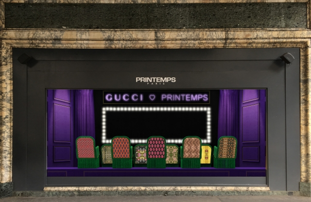A rendering of the Gucci window displays for Printemps