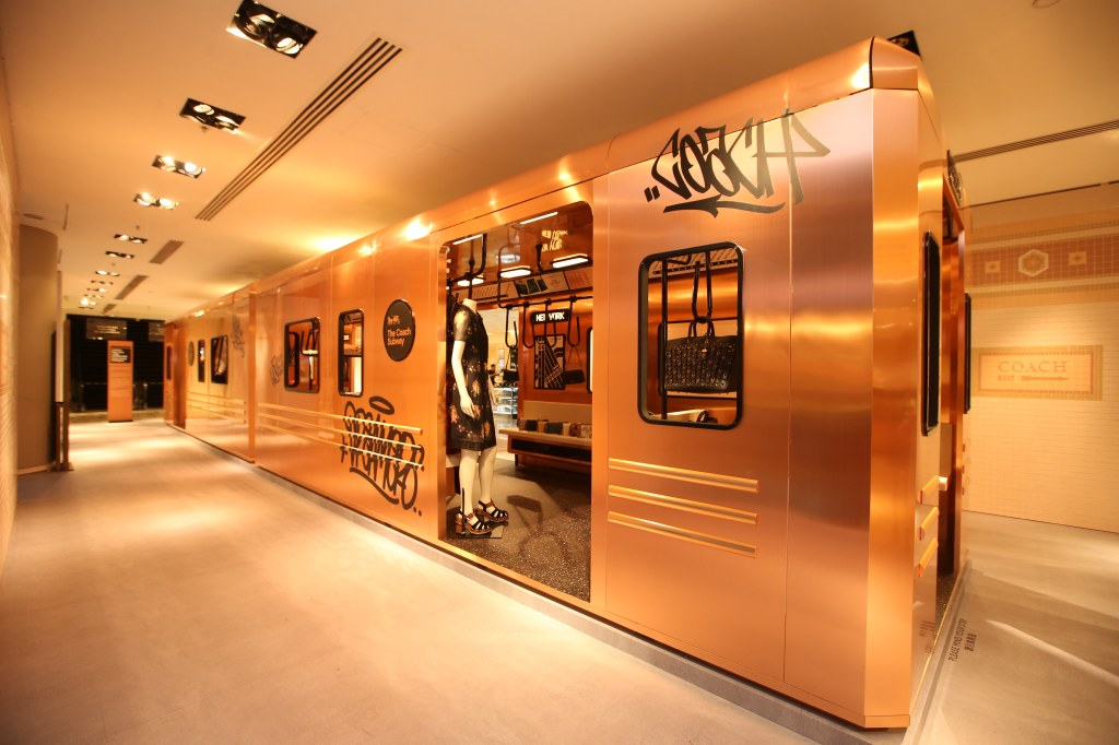 Coach recreated a New York subway train for its Art of Expression pop up in Lane Crawford.