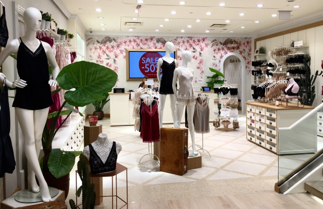 A view of an Intimissimi area at the new Fifth Avenue flagship it shares with Calzedonia.