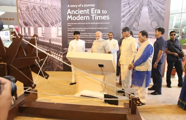 Indian Prime Minister Modi tours the exhibition.