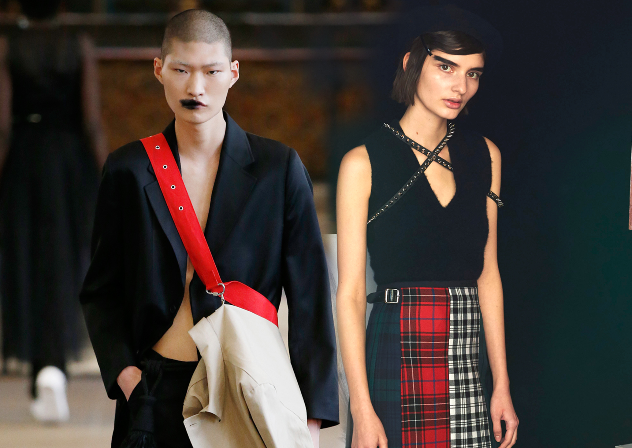 Looks from Matthew Miller's and Le Kilt's Fall 2017 collections.