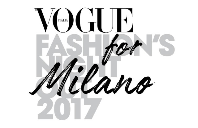 The new logo of Vogue Fashion's Night Out in Milan.