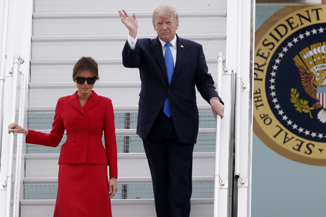 U.S President Donald Trump and First Lady Melania arrive at Orly airport, south of Paris, . Trump and his French counterpart, Emmanuel Macron, are looking to set aside differences on trade and climate change and find common ground as they meet ahead of Bastille Day celebrations in ParisTrump, Orly, France - 13 Jul 2017