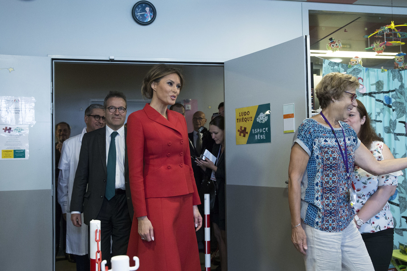 First Lady Melania Trump, center, visits the Necker hospital, France's biggest pediatric hospital in Paris, . Melania Trump is touring the hospital shortly after her arrival in France with President Donald Trump aboard Air Force OneTrump, Paris, France - 13 Jul 2017