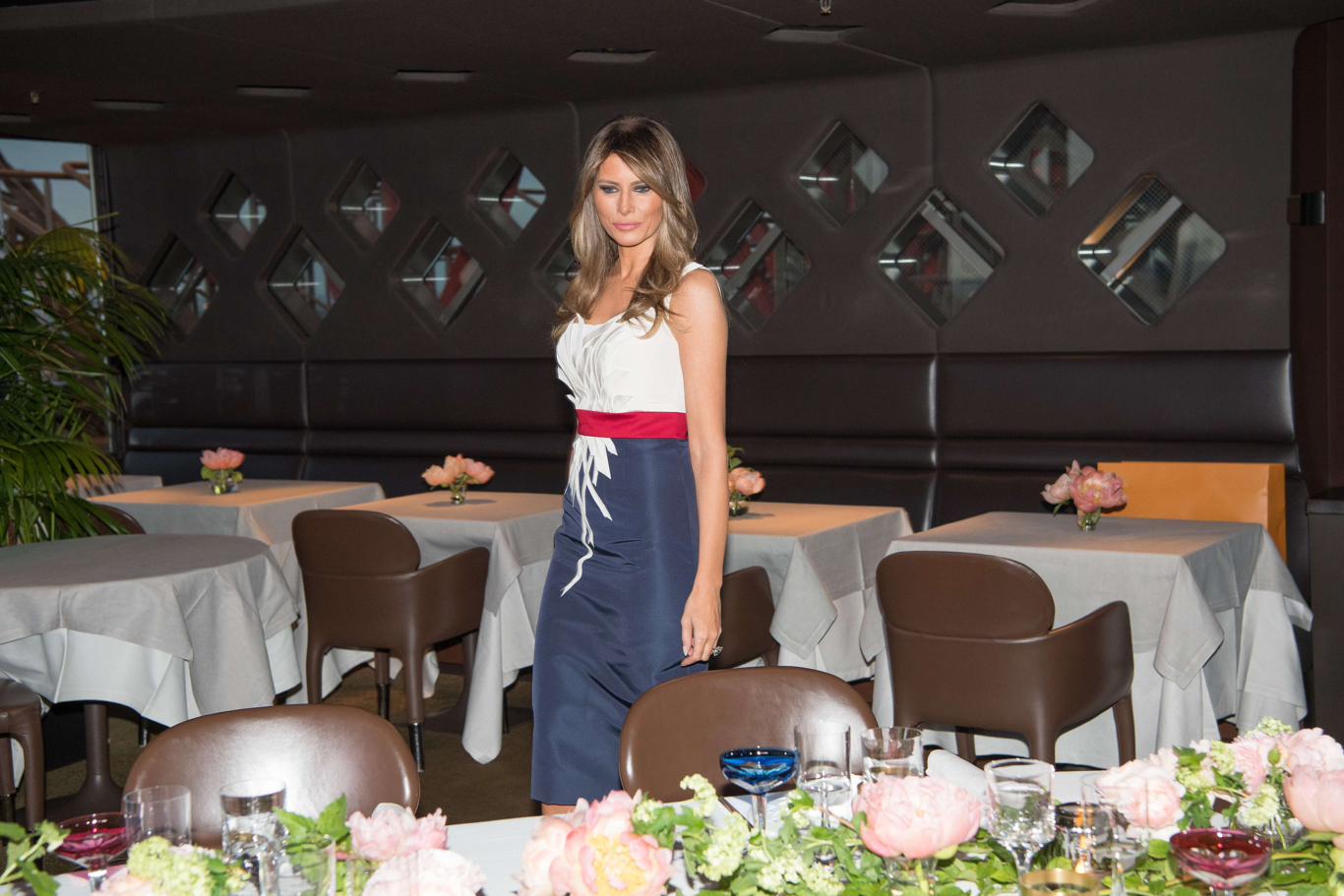 First lady Melania Trump poses at the Jules Verne restaurant before a private dinner at the Eiffel Tower in Paris, France, July 13, 2107.President Donald Trump visit to Paris, France - 13 Jul 2017