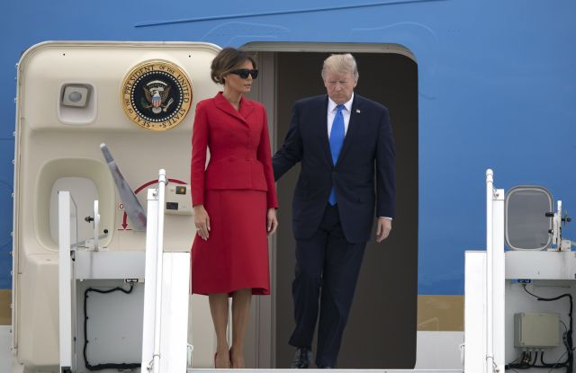 Donald J. Trump and Melania TrumpUS President Donald J. Trump in Paris, Orly, France - 13 Jul 2017US President Donald J. Trump (R) and his wife Melania disembark Air Force One at Orly airport in Orly, near Paris, France, 13 July 2017. Trump is on a two-day visit in Paris.