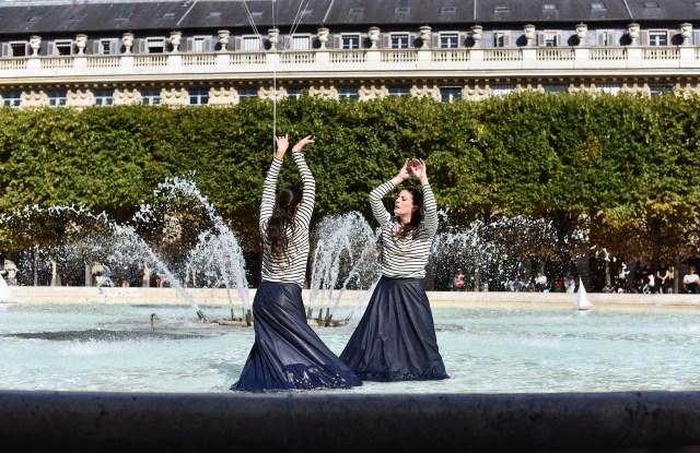 Marie-Agnès Gillot and Alice Renavand perform for Petit Bateau capsule launch.