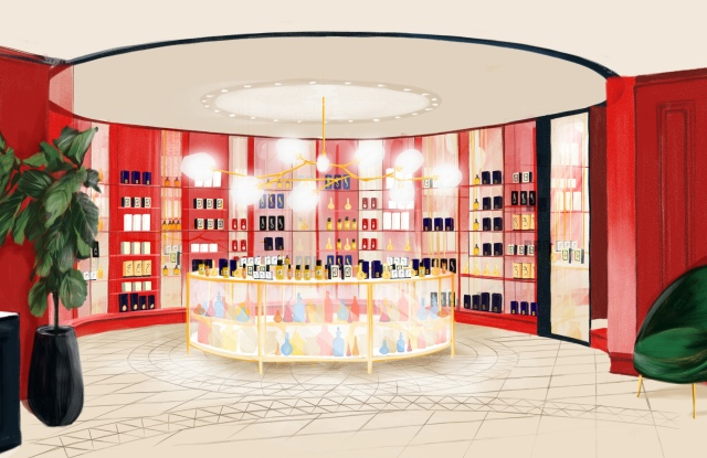 A rendering of Printemps' new Scent Room