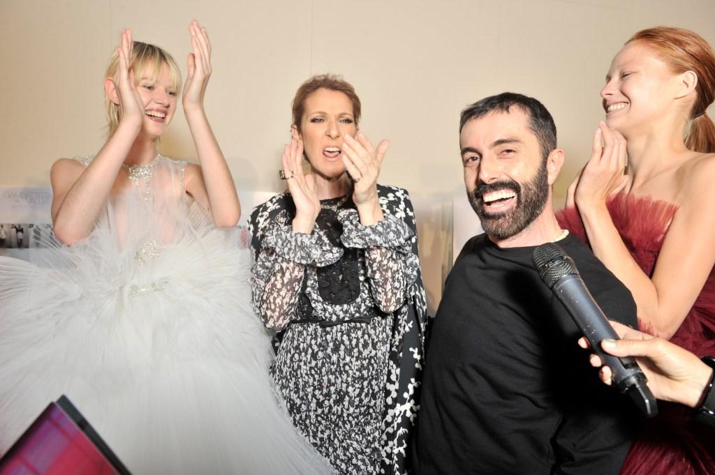 Giambattista Valli, Celine Dion and models backstageGiambattista Valli show, Autumn Winter 2016, Haute Couture Fashion Week, Paris, France - 04 Jul 2016