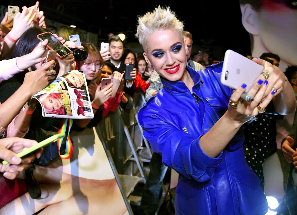 Katy Perry meets fans at a Myer store in Sydney.
