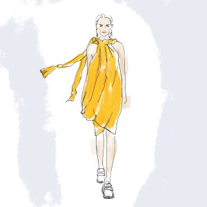 A sketch of a custom dress made from protein-based silk that will be displayed at The Museum of Modern Art.