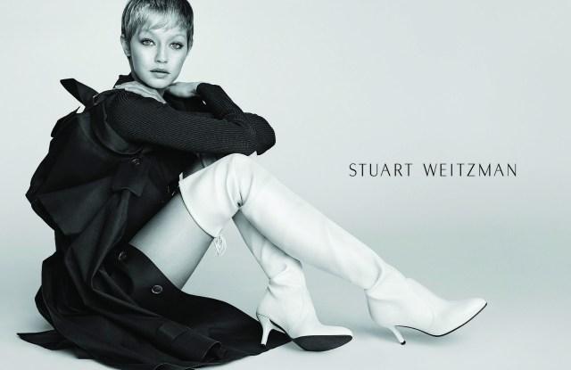 Gigi Hadid Models for Stuart Weitzman Fall 2017 Campaign