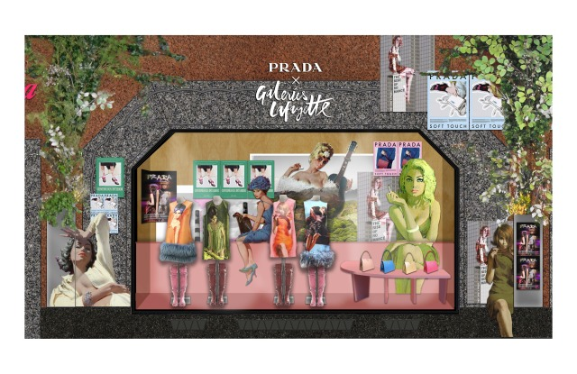 A rendering of the Prada display at Galeries Lafayette.