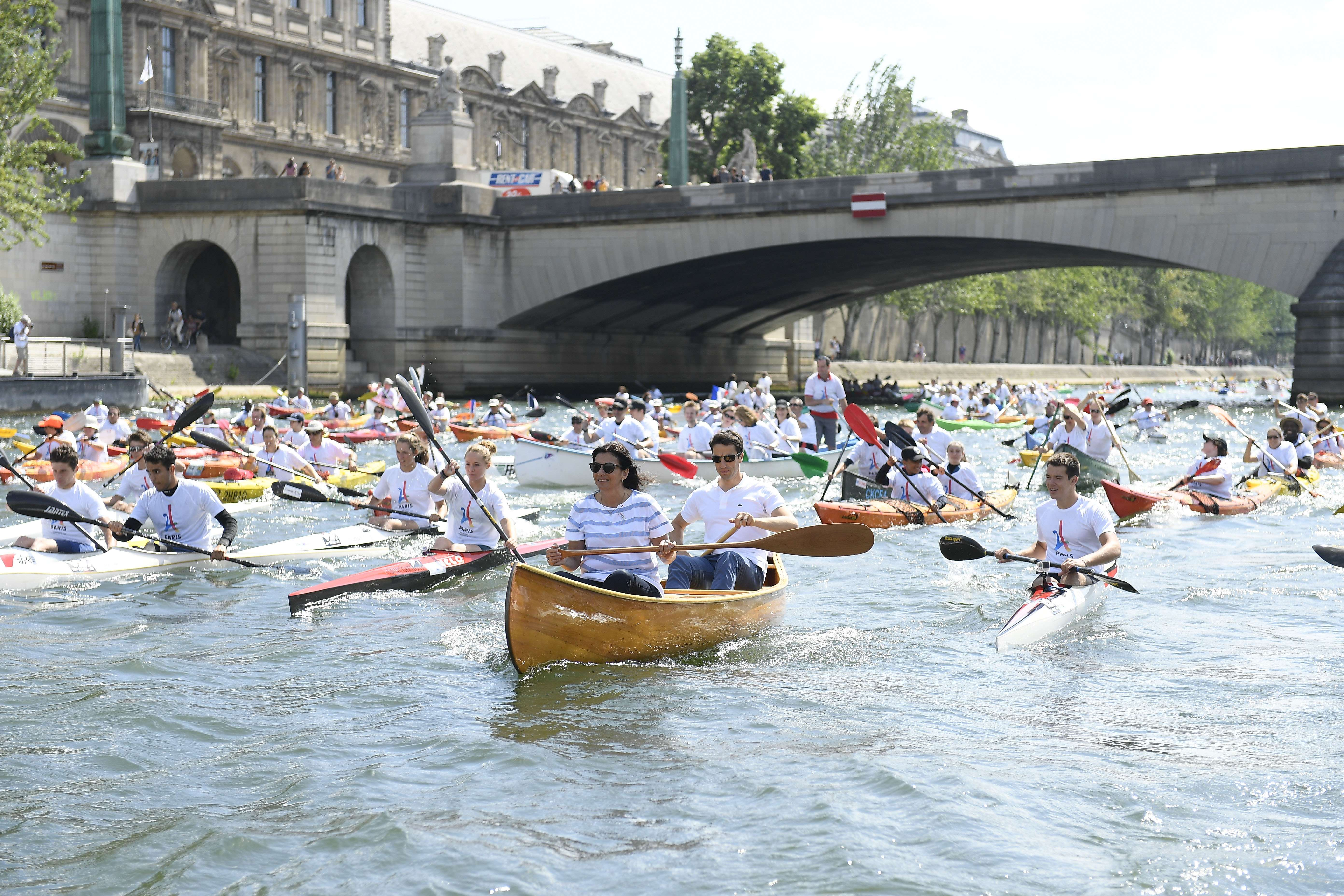 Paris Mayor Anne Hidalgo and the co-president of the Paris bid for the 2024 Olympics Tony Estanguet sail on the Seine river in ParisOlympic Days event, Paris, France - 23 Jun 2017