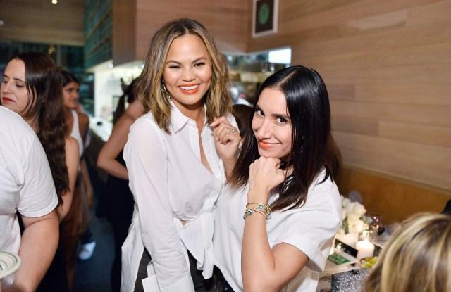 "Jen Aitkin and Chrissy Teigen attend INTERMIX x A.L.C ""On Duty"" Launch Dinner"