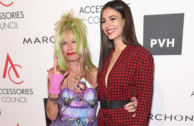 NEW YORK, NY - AUGUST 07:  Designer Betsey Johnson and Victoria Justice attend the Accessories Council's 21st Annual celebration of the ACE awards at Cipriani 42nd Street  on August 7, 2017 in New York City.  (Photo by Jamie McCarthy/Getty Images for ACE Awards)